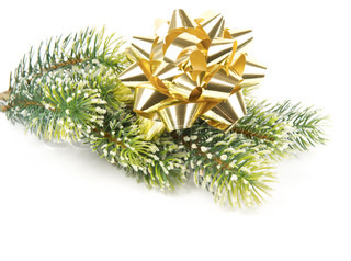 green pine tree with golden ribbon christmas and new year decor