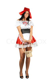 Sexy Little Red Riding Hood isolated on a white