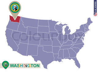 Political Map Of Washington State Stock Vector Colourbox - Washington political map
