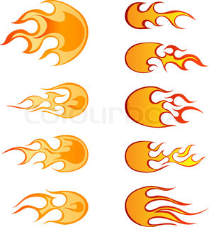 Set of different fireballs patterns for design use