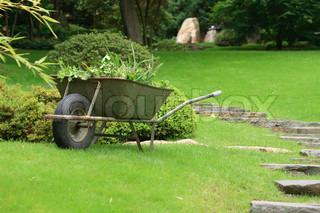 steel wheelbarrow in the spring green park