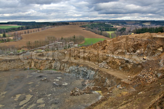 View of the quarry and mining towers, Czech Republic
