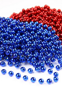 Blue and red beads isolated on white background