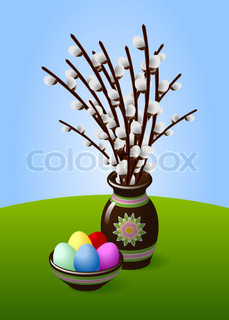Willow Catkin Twigs in Brown Vase with Easter Eggs