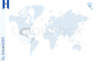 World map with magnifying on costa rica blue earth globe with blue world map with magnifying on el salvador gumiabroncs Gallery