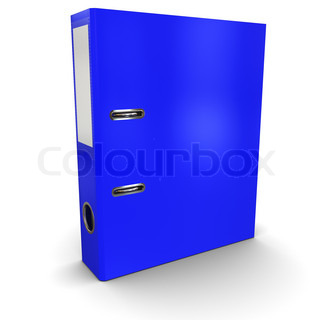 Blue office paper folder on a white background