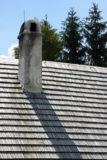 Roof with chimney old cottage