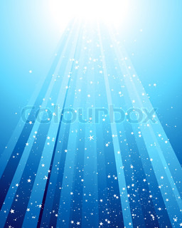 Underwater rays with many stars Vector illustration