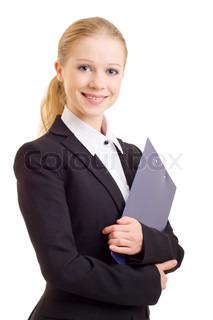 Portræt af glade smilende business kvinde med