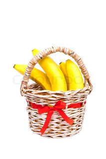 Bunch of bananas in a paper basket manufactured home on a white background