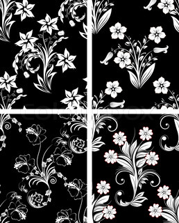 Set of seamless vector floral backgrounds For easy making seamless pattern just drag one of four group into swatches bar, and use it for filling any contours