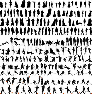 Biggest collection of people silhouettes