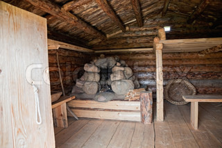 Interior ancient traditional russian wooden house X century