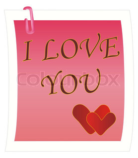 illustration: note with I Love You message