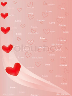 background with hearts and word Love in several languages
