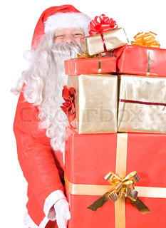 Santa Claus carries a pile of gifts on white background