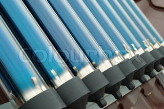 Closeup of vacuum tubes from solar water heating system