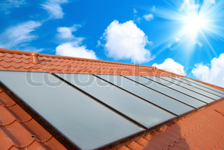 Solar water heating system on the red roof