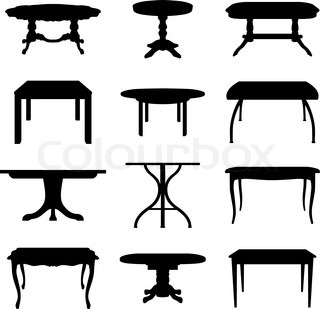 Collection of different tables silhouettes Vector illustration