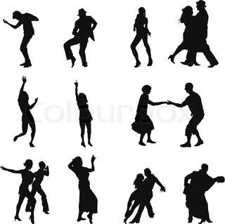 Sammlung von verschiedenen Tanz Silhouetten Vektor-Illustration