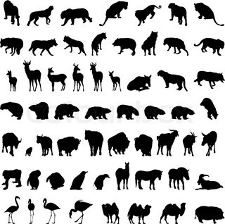 Big collection of different animal silhouettes