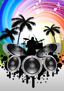 Rock group drummer at thropical and festive rays background