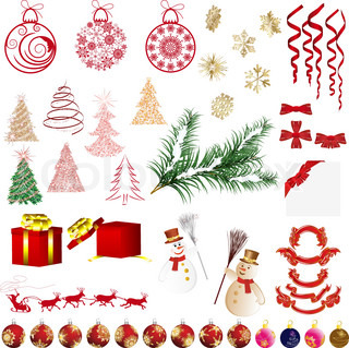 Big collection of different vector Christmas elements for design use