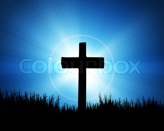 cross on the blue background