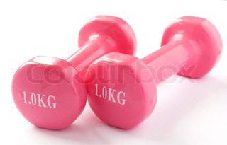 Two pink dumbbells on a white background