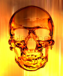 skull in on the fire background generated by the computer