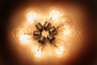 six light bulbs in the dark night
