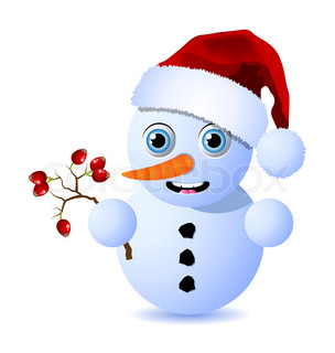 Cute little snowman is holding a small branch of rosehips