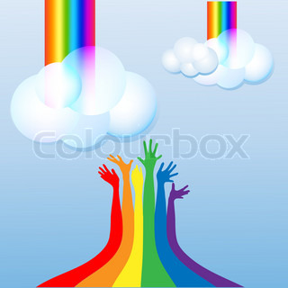 Rainbow,  cloud, sky, happy hands vector
