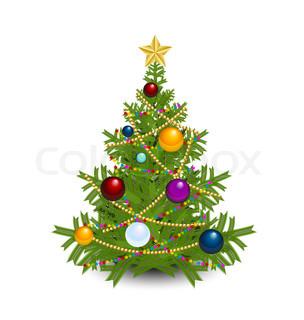 weihnachtsbaum mit stern ketten und kugeln die isoliert. Black Bedroom Furniture Sets. Home Design Ideas