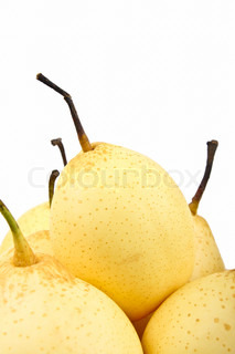 Chinese pear Close up on white background