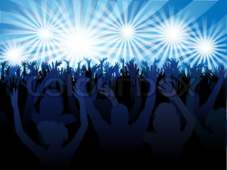vector abstract music poster with crowd