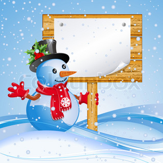 Christmas blue background with snowman and billboard