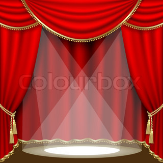 Theater stagewith red curtain Clipping Mask Mesh