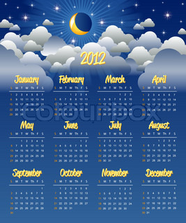 Cloudy night calendar template for 2012 year