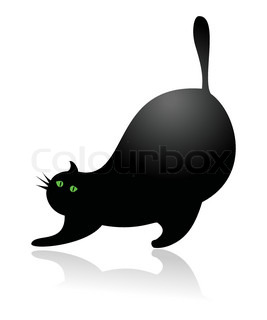 Big fat cartoon cat stretching, vector