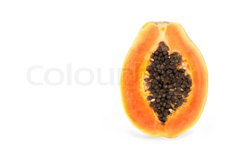 Papaya fruit sliced in half on a white background