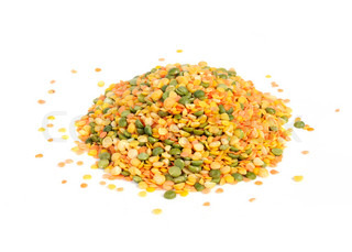 Legume Mix Split Peas and Lentils Isolated on White Background