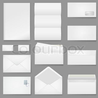 Office paper of different types Illustration on white background