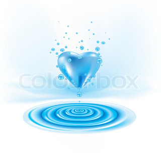 Water waves with heart drop Illustration on white
