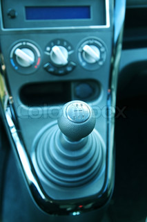 Detail of gearshift in the car