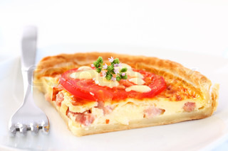 Tradition French bacon quiche with onion, tomato and cheese   Stock ...