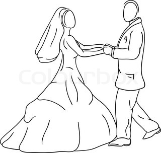 vector - Bride and groom isolated on background
