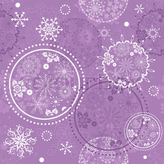 Soft purple seamless Christmas pattern with circles and snowflakes vector