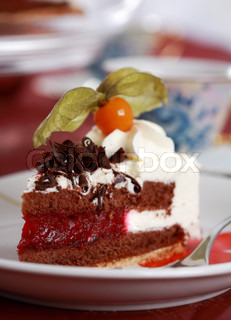 Piece of delicious sweet cake garnished with fruist