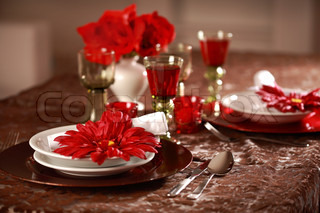 Luxury place setting in red and whitefor Christmas or other event